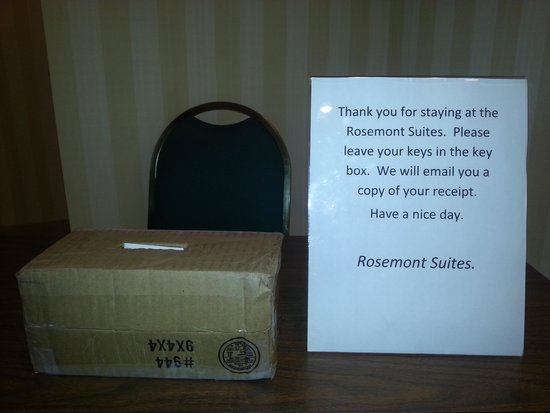 Rosemont Suites: And  this was what we came down to when it was time to check out.