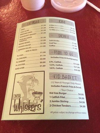 Mr. Whiskers: menu