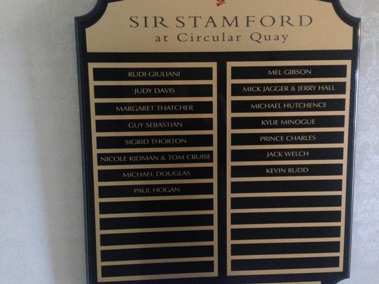 Sir Stamford at Circular Quay Hotel Sydney: list of a listers