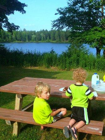 Halfway Lake Cottages: picnic dinner view of Halfway Lake.