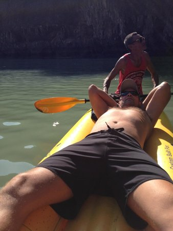 John Gray's Sea Canoe : Relaxing while others do the paddling
