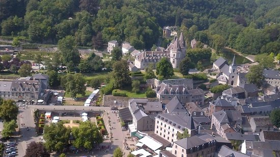 Old Town of Durbuy: View from tower near labrinth overlooking Durbuy