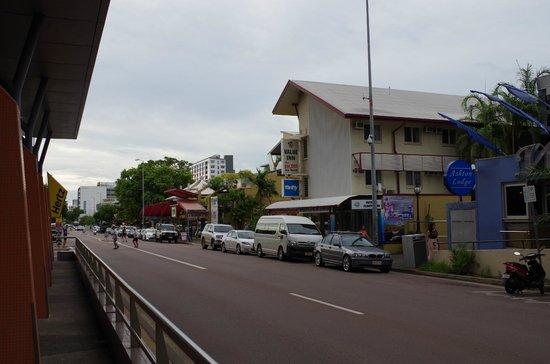 Value Inn Darwin: View from shopping centre across Mitchell Street