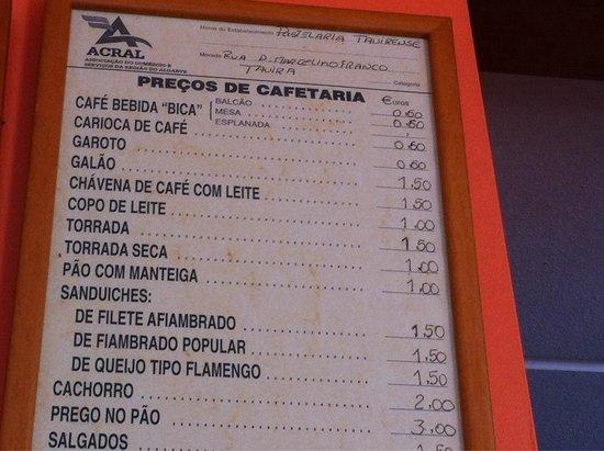 Pastelaria Tavirense: Coffe 0,60€