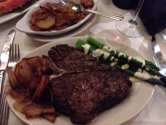 Ruth's Chris Steak House: 24oz T-bone, potato lyonnaise and asparagus with Hollandaise