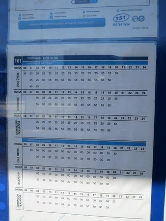 Almada, Portugal: Bus 101 schedule to Cristo Rei