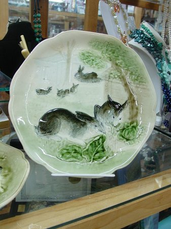 Antiques Center of Yarmouth: Antique majolica bunny plate