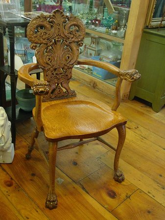Antiques Center of Yarmouth: Ornately carved oak armchair