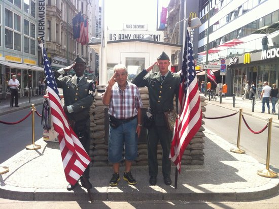 Checkpoint Charlie: Saluting with the soldiers