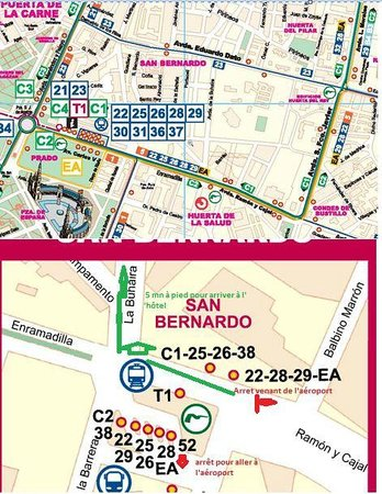 Sevilla Center Hotel : arrets bus EA aeroport - direction hotel