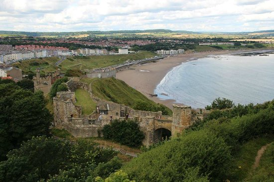 Scarborough Castle: View of North Beach and Entrance