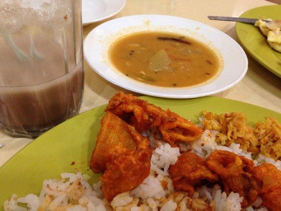 Sri Brinchang : Dehydrated squid, watery milo and gravy