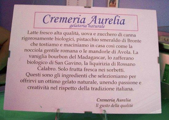 Cremeria Aurelia : i nostri ingredienti