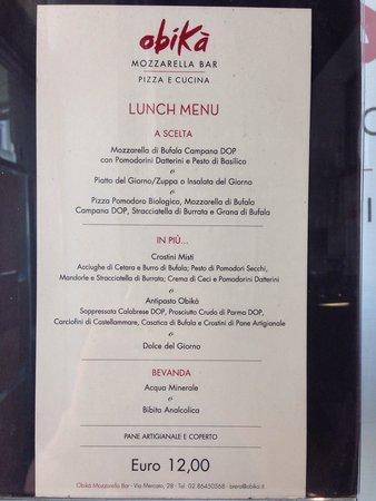 Obica Mozzarella Bar - Brera: Le menu à 12 euros. Très bon rapport qualité prix.