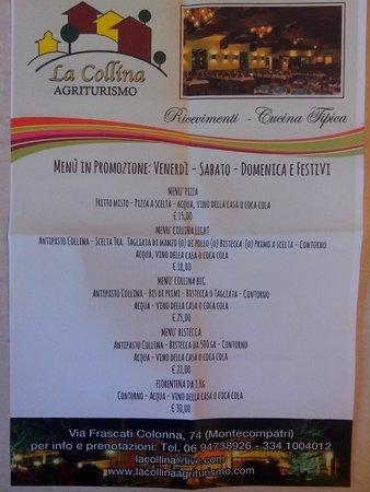Agriturismo La Collina : Menù nel week-end