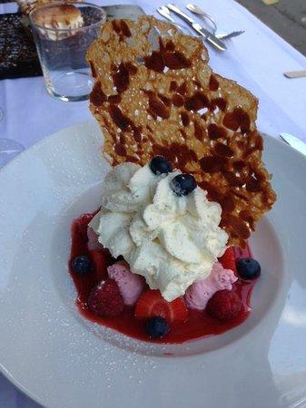 Pouic-Pouic: Fruits rouges, espuma vanille de Tahiti et sa glace chocolat - aussi beau que bon!!!