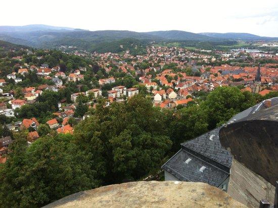 Schloss Wernigerode: View of Wernigerode from castle garden