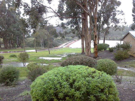 Willy Bay Resort Margaret River: view from chalet 5 on rainy day