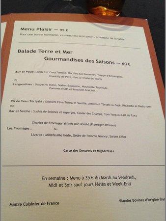 Le Patio : Le menu