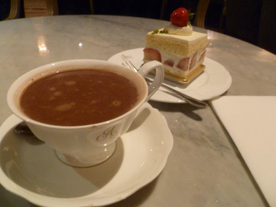 Strawberry shortcake and hot chocolate at Antoinette