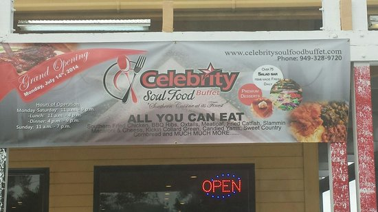 Celebrity Soul Food Buffet : Sign out front