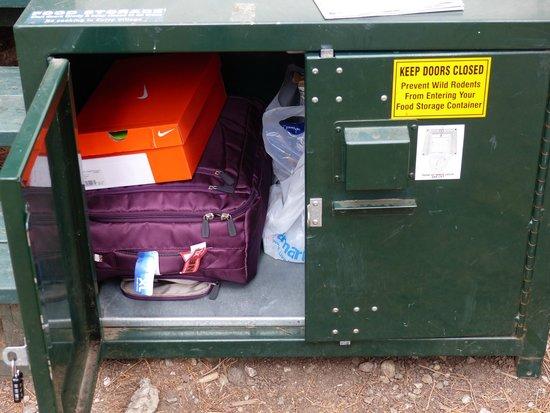 Half Dome Village: Casier de stockage devant la tente