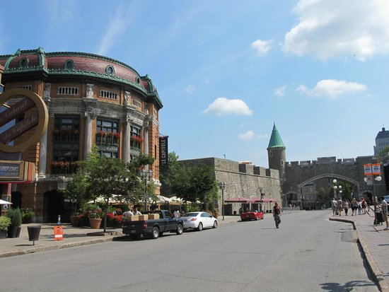 Old Quebec: Place D'Youville and part of the walled city in the background.