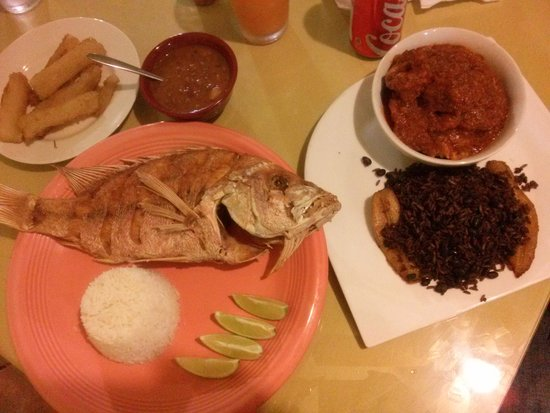 Boricuba: whole fried snapper, ox tails, beans and rice, and sweet plantains