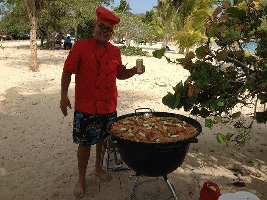 delicious puertorican paella being prepared at beautiful Sun Bay