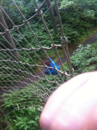 Go Ape at Peebles, Glentress: Kellie on the Tarzan Swing