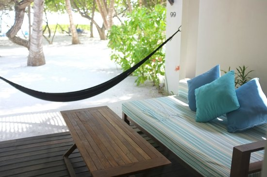 Holiday Inn Resort Kandooma Maldives: The veranda of our Beach-facing Room. Perfect for lazy days and hiding from the sun!
