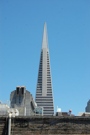 Tin How Temple: view of Transamerica Building from deck
