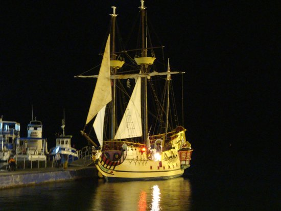 The Jolly Roger: Boat at night