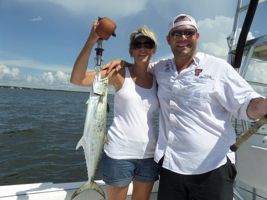 Photo taken after 3 fish had been removed and filleted for Charter fishing tampa