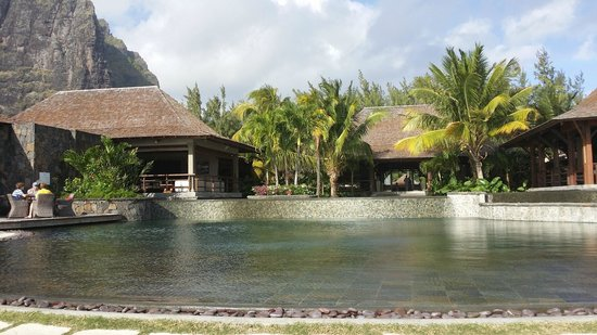 A view over one of the Lux Le Morne swimming pools