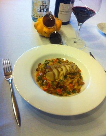 El Celler de l'Aspic: Riz aux légumes avec lapin + vin du Priorat