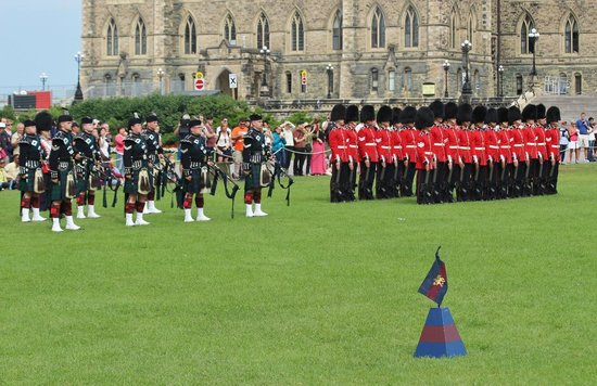 Changing of the Guard: Changing of Guard - pipers and guard
