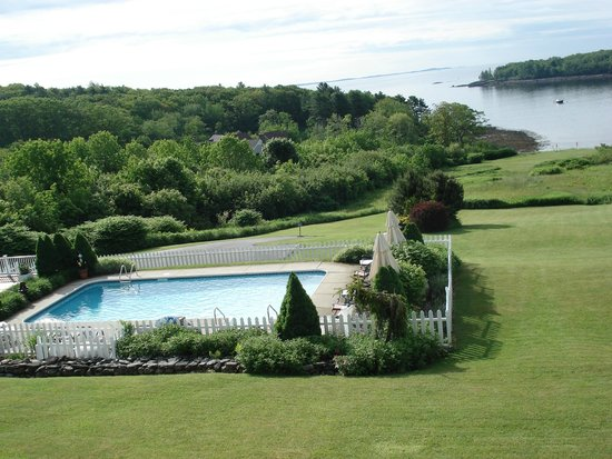 Strawberry Hill Seaside Inn: view of pool and waterfront from porch
