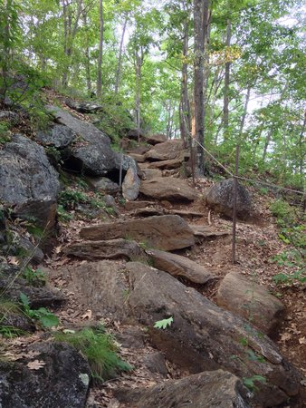 Mount Tom: The rockier part of the trail, as you approach the summit