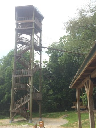 Hocking Hills Canopy Tours : Going up to the Super Zip
