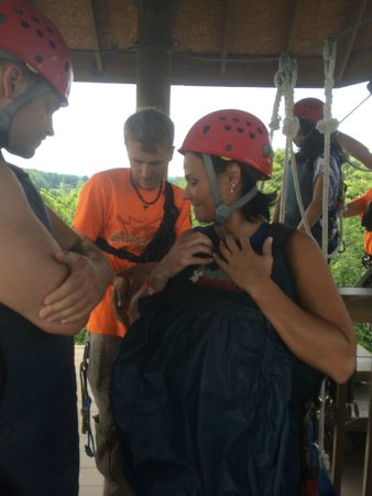 Hocking Hills Canopy Tours : About to Super Zip. This Guide was awesome! Friendly and Funny!