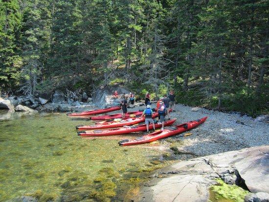 Maine State Sea Kayak : Shaded gravel beach snack stop...