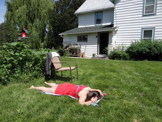 Tierra Linda Bed and Breakfast : Sunbathing on the soft grass