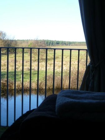 Mill Lane Bed & Breakfast: Barnowl's balcony overlooks the mill pond and surrounding countryside       e