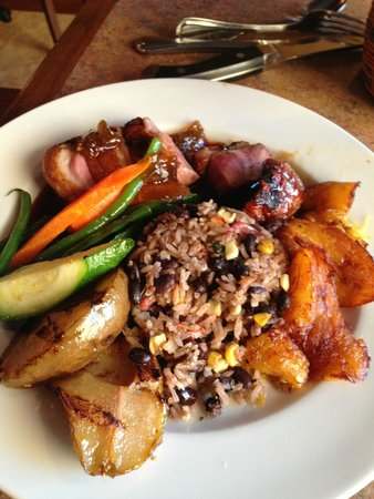 Escobar's Restaurant: Roasted duck breast with fig glaze, sweet plantains,sub.  fajita vegetables
