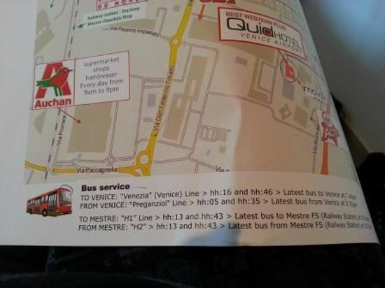 BEST WESTERN PLUS Quid Hotel Venice Airport: BEST WESTERN QUID: Area map with the bus timetable