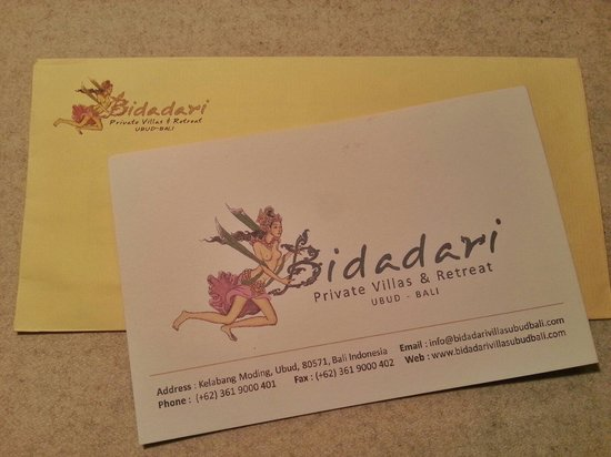 Bidadari Private Villas & Retreat : 纪念手写卡片
