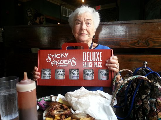 Eating at Sticky Fingers completed my Aunt's 93rd birthday trip!  She couldnt decide on a favori
