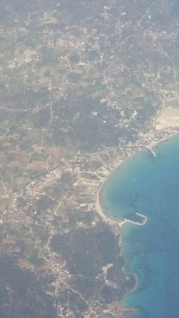 Alykanas Village Hotel: View of hotel from plane when leaving Zante =(