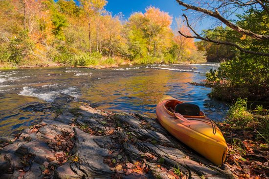 McCurtain County, OK: Kayak on the riverbank